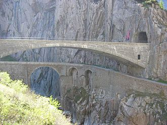 Gotthard Pass - The modern concrete span of the third Devil's Bridge (Teufelsbrücke, built 1958) showing an older bridge (built 1830) below.