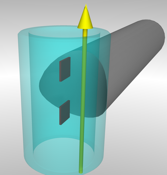 Transepidermal water loss - Principle of an instrument measuring transepidermal water loss. Water vapor is diffusing through the transparently shown cylinder. The yellow arrow symbolizes the diffusion direction. The two dark red square elements are two pairs of sensors each measuring relative humidity and temperature.