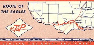 Texas and Pacific Railway - Route map of the railroad, circa 1950s
