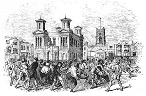 History of football in England - A football game between Thames and Townsend clubs, played at Kingston upon Thames, London, 1846.