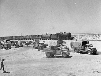Brian Robertson, 1st Baron Robertson of Oakridge - A railway train and lorries are used to ferry supplies during the retreat of the Eighth Army into Egypt