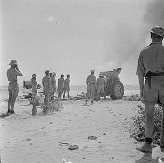 London Heavy Brigade, Royal Garrison Artillery - 212 Battery firing 155mm Howitzers in North Africa 1942
