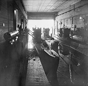 Dora I - Three U-boats in a submarine pen at Trondheim, 19 May 1945