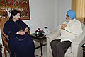 The Chief Minister of Tamil Nadu, Dr. J. Jayalalithaa meeting the Deputy Chairman, Planning Commission, Shri Montek Singh Ahluwalia for finalizing plan size for 2013-14 for the State, in New Delhi on June 10, 2013.jpg