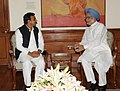 The Chief Minister of Uttar Pradesh, Shri Akhilesh Yadav calling on the Prime Minister, Dr. Manmohan Singh, in New Delhi on April 14, 2012 (1).jpg