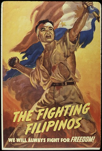 Flag of the Philippines - A pro-Allied World War II propaganda poster showing a Filipino soldier holding a Philippine flag with the red field flown upwards.