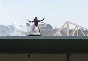 Highlanders (rugby union) - The Highlander mascot performing before a match at Carisbrook stadium.