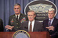 The Honorable Donald Rumsfeld, Secretary of Defense fields a question during the first Pentagon press briefing following the September 11, 2001 attacks 010911-N-AV833-204.jpg