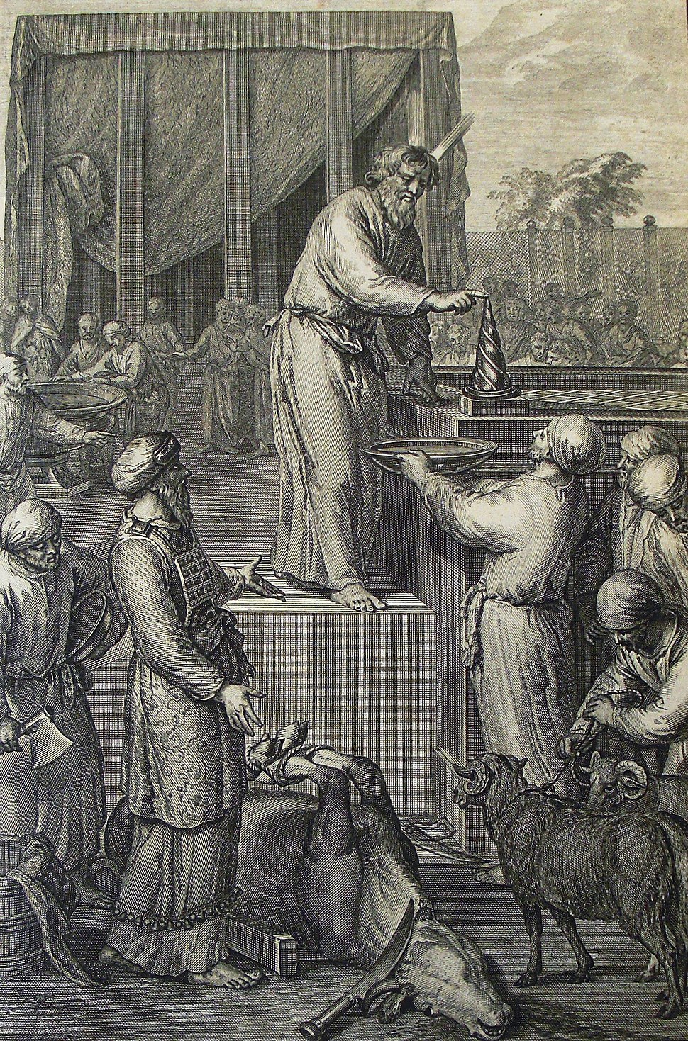 The Phillip Medhurst Picture Torah 522. Purifying the altar. Leviticus cap 8 v 15. Hoet