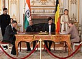 The President, Shri Pranab Mukherjee and the Prime Minister of Belgium, Mr. Elio Di Rupo witnessing the signing of the MoU between the Indian and Belgium University, at Egmont Palace, Brussels in Belgium on October 03, 2013.jpg