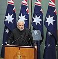 The Prime Minister, Shri Narendra Modi addressing the joint session of Parliament of Australia, at Parliament House, in Canberra, Australia on November 18, 2014 (2).jpg