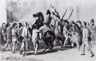 The Prince of Orange pressed by the crowd during the 1830 Revolution The Prince of Orange pressed by the crowd.png