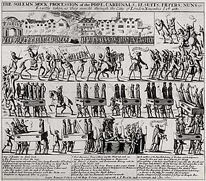 "Exclusion Crisis - Engraving showing ""A Solemn Mock Procession of the Pope"" held in London on 17 November 1680.  The Whigs arranged to have effigies of the Pope, cardinals, friars, and nuns paraded through the streets of London and then burned in a large bonfire."