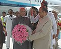 The Vice President, Shri Mohd. Hamid Ansari being received by the Governor of Jharkhand, Shri K. Sankaranarayanan, on his arrival at Ranchi Airport on September 10, 2009.jpg