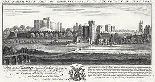 The north west view of Caerdiffe castle, in the county of Glamorgan