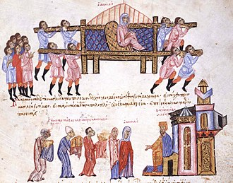Danielis - Danielis being carried by her slaves to Constantinople. Miniature from the chronicle of Ioannis Skylitzes, mid-13th century. Madrid Biblioteca Nacional