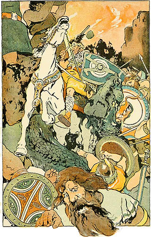 Ragnarök - Then the Awful Fight Began (depiction by George Wright, 1908)