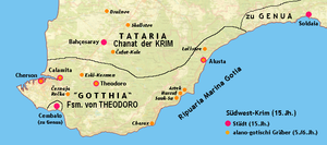 Crimean Goths - Map of Gothia – territory of the Crimean Goths