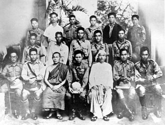 Burma Independence Army - Portrait of the Thirty Comrades and Keiji Suzuki (front row in white Burmese dress)