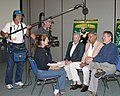 Three-person video production EFP crew videotapes interview with Forbidden Planet Cast.jpg