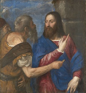 The Tribute Money (Titian) - Titian's later composition, c. 1543–68, National Gallery