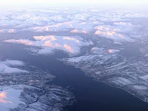 Tjeldsund - Aerial view over Tjeldsund and part of Ofotfjord in January. Tjeldsund is partly on the mainland, but also includes Tjeldøya (island).