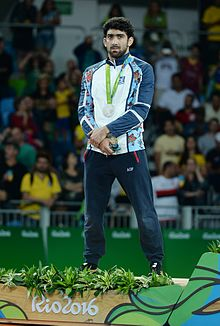 Toghrul Asgarov at the 2016 Summer Olympics awarding ceremony.jpg