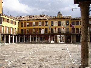 Tordesillas - Plaza Mayor  with colonnades.