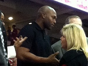Torii Hunter - Hunter prior to an Arkansas Razorbacks men's basketball game against Michigan in Bud Walton Arena