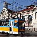 Trams in Sofia in front of Central Market Hall 2012 PD 02.JPG