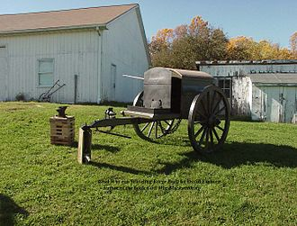 Traveling forge - A reproduction traveling forge. Circa 1850s through 1860s U.S. blacksmith's traveling forge.