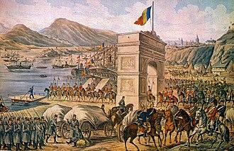 United Principalities - Romanian Army crossing the Danube