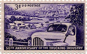 American Trucking Associations - American Trucking Industry, on the 50th anniversary of the American Trucking Association, commemorated on U.S. postage stamp of 1953