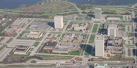 Developed in the early 1950s, Tunney's Pasture is an area that holds a number of federal government buildings. The federal government is the city's largest employer. Tunney's Pasture.jpg