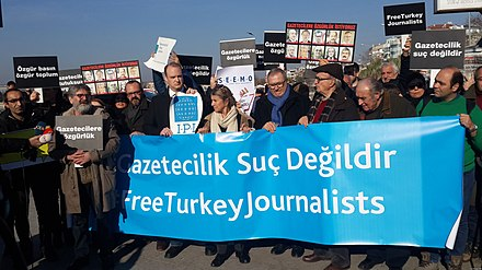 Turkish journalists protesting imprisonment of their colleagues on Human Rights Day, 10 December 2016 Turkish journalists protesting imprisonment of their colleagues in 2016.jpg