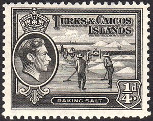 Turks and Caicos Islands raking salt stamp 1938