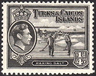 Turks and Caicos Islands - Raking salt on a 1938 postage stamp of the islands.
