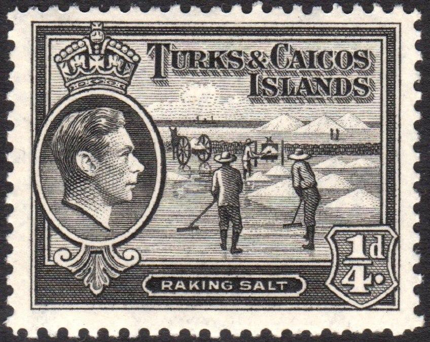 Turks and Caicos Islands raking salt stamp 1938