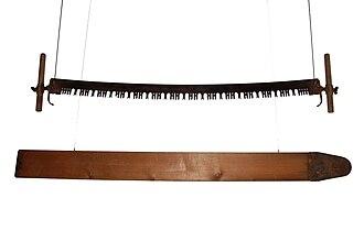 Crosscut saw - Two-man felling saw and springboard