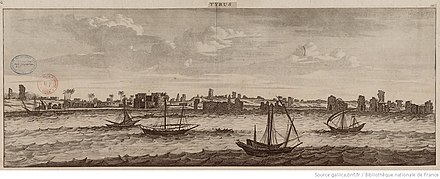Illustration of the ruins of Tyre, by Dutch artist Cornelis De Bruyn who travelled the Levant in the 1670s and early 1680s Tyrus btv1b85929097.jpg