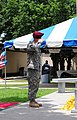 U.S. Army Sgt. Joshua Bracey, with Alpha Company, 1st Battalion, 504th Parachute Infantry Regiment, 1st Brigade, 82nd Airborne Division, renders a salute to honor Staff Sgt. Nicholas Fredsti, during the All 130523-A-PO583-185.jpg