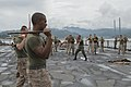 U.S. Marines assigned to Bravo Company, 1st Battalion, 8th Marine Regiment participate in a close quarters combat class taught by Philippine marines on the flight deck of the amphibious dock landing ship USS 140627-N-BB269-023.jpg