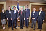 U.S. Secretary of Defense Ash Carter and Senators Joni Ernst, Daniel Sullivan, John McCain, Tom Cotton, Lindsey Graham, and Cory Gardner attending the 2016 International Institute for Strategic Studies Asia Security Summit in Singapore.jpg