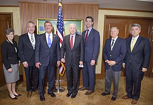 Tom Cotton - U.S. Secretary of Defense Ash Carter and Senators Joni Ernst, Daniel Sullivan, John McCain, Tom Cotton, Lindsey Graham, and Cory Gardner attending the 2016 International Institute for Strategic Studies Asia Security Summit in Singapore
