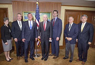 Joni Ernst - U.S. Secretary of Defense Ash Carter (third from left) and Senators Joni Ernst, Daniel Sullivan, John McCain, Tom Cotton, Lindsey Graham, and Cory Gardner attending the 2016 International Institute for Strategic Studies Asia Security Summit in Singapore