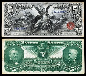 "1896 $5 Silver Certificate from the ""Educational Series"". US-$5-SC-1896-Fr.270.jpg"