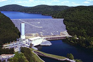 Ouachita River - Blakely Mountain Dam on the Ouachita River in Garland County, Arkansas. The dam impounds Lake Ouachita.