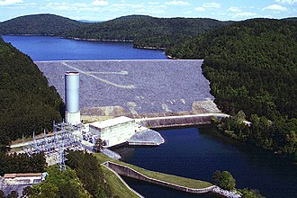 Ouachita River - Blakely Mountain Dam on the Ouachita River in Garland County, Arkansas. The dam impounds Lake Ouachita.