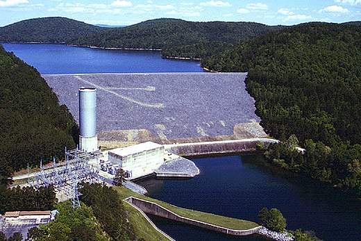Blakely Mountain Dam on the Ouachita River in Garland County, Arkansas. The dam impounds Lake Ouachita. USACE Blakely Mountain Dam.jpg