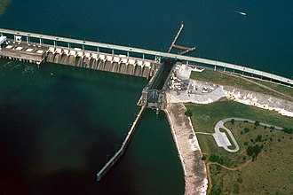 Fort Loudoun Dam - Fort Loudoun Lock and Dam. View is upriver to the northwest.